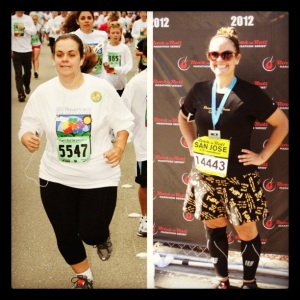 First 5k- Oct. 2011 & Second Half Marathon Oct. 2012