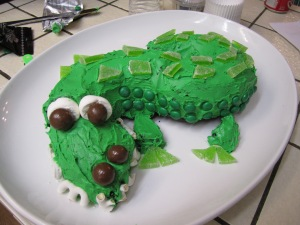 regular shot of the gator cake