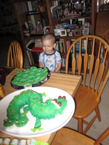 Thomas in the morning when he first saw his cake