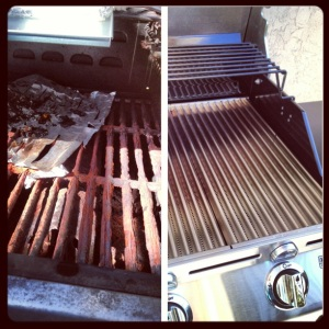 old and new grill