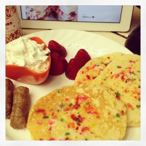 Strawberry Sprinkled Pancakes