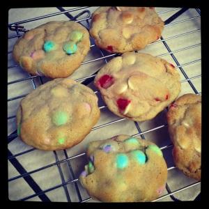 M&M Cookies and Maraschino White Chocolate Chip Cookies