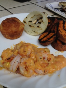 Grilled Bangin Shrimp, Grilled Sweet Potatoes & Onions, Mock texas Roadhouse Roll with Cinnamon Butter