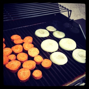 Grillin' onions and sweet potatoes on my new grill!