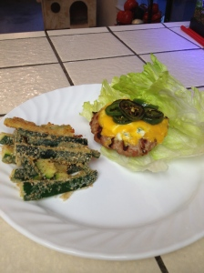 Lettuce wrapped jalapeno popper slider and baked zucchini sticks